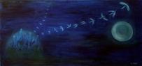 Do práce / 2005 olej 60 x 120 cm - charita