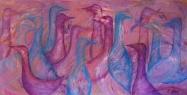 Ptačí farma / 2011 olej 75 x 145 cm  - prodejné